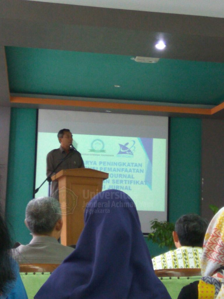 Sambutan Rektor UNJANI Yogyakarta di lokakarya peningkatan pemanfaatan database e-journal